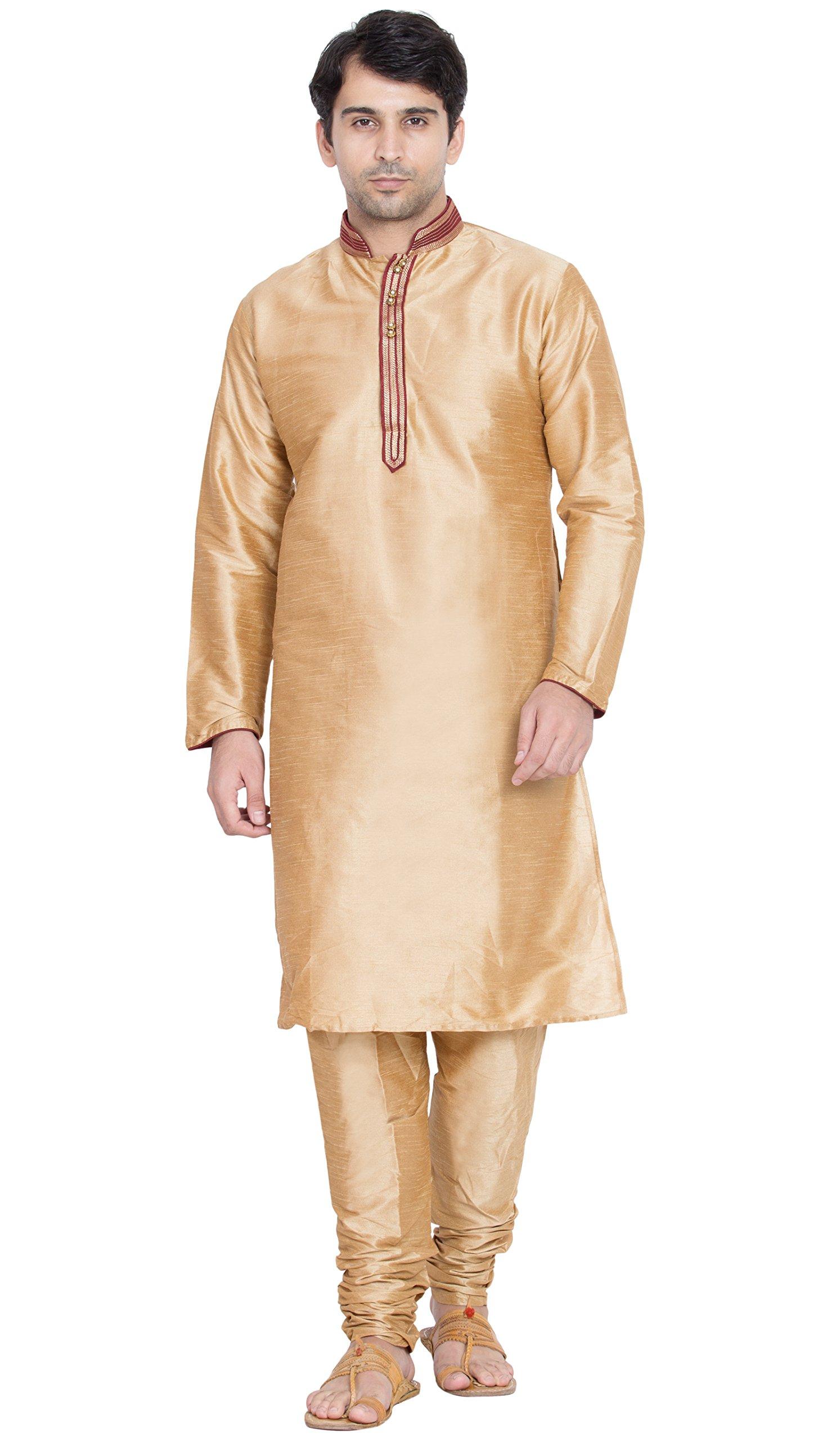 Indian Pajama Kurta Handmade Traditional Dress Long Sleeve Shirt Salwar Kameez -L