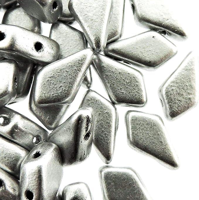 Kite Jet Laser Leaf Matte 2-Hole Czech Glass 9x5mm 25 Beads