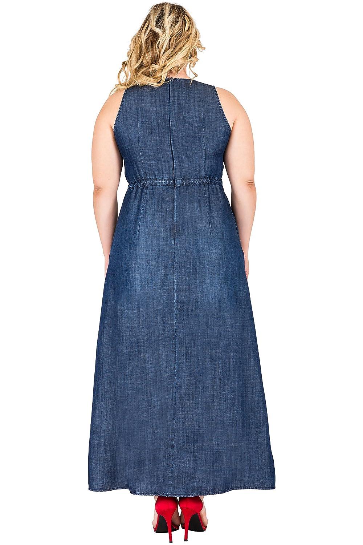 573bfa4f7d2 Standards & Practices Plus Size Women's Tencel Double Slit Sleeveless Maxi  Dress at Amazon Women's Clothing store: