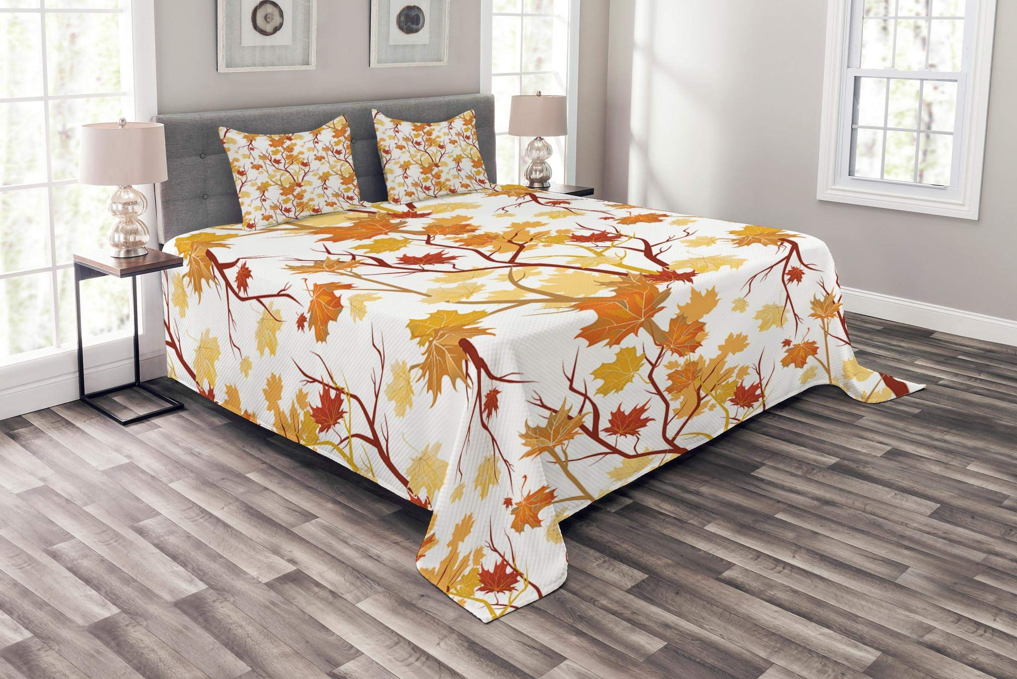 Lunarable Fall Bedspread, Swirling Fall Leaves with Shady Seasonal Elements Aesthetic Nature Image, Decorative Quilted 3 Piece Coverlet Set with 2 Pillow Shams, King Size, Tan Yellow