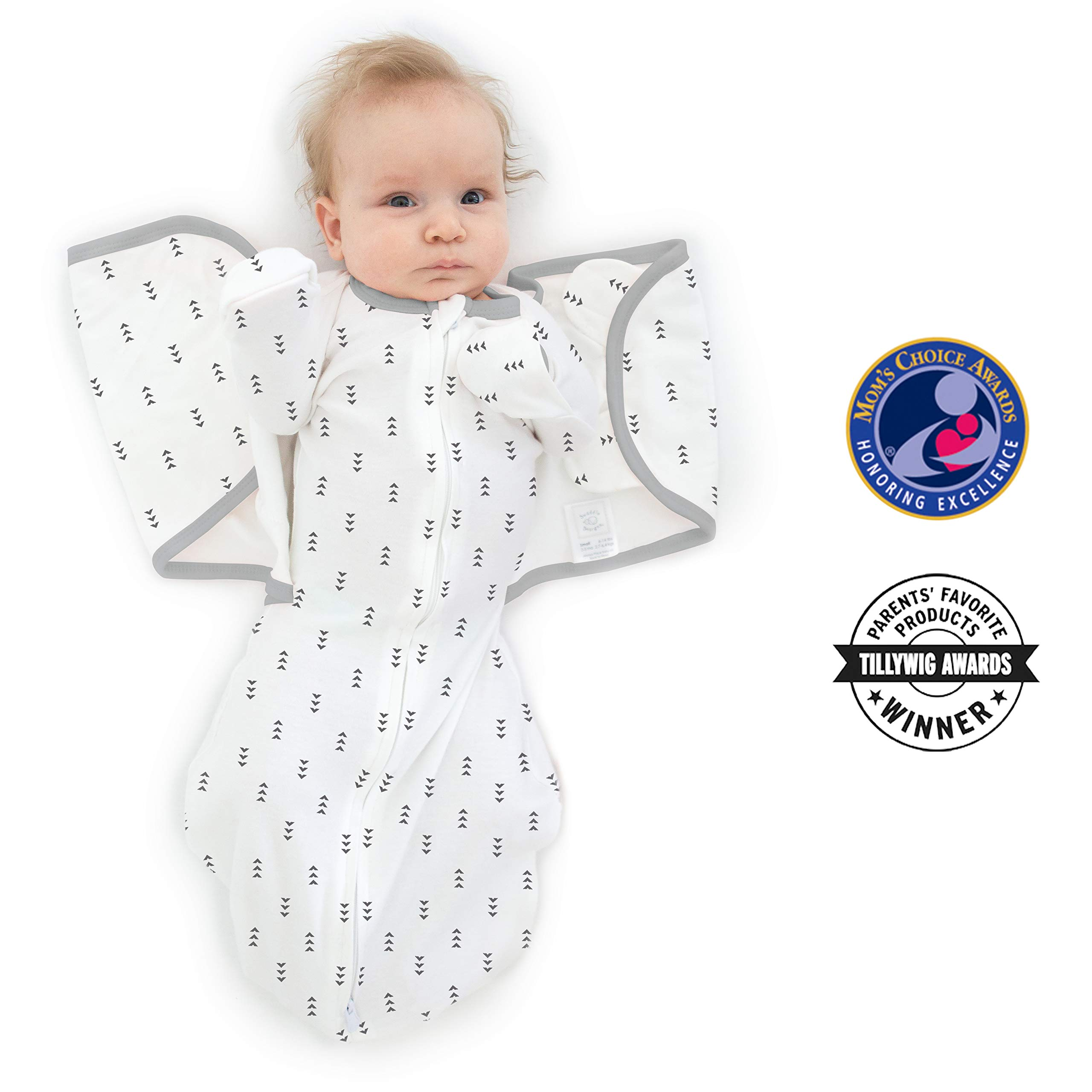 SwaddleDesigns Omni Swaddle Sack with Wrap and Arms Up Sleeves and Mitten Cuffs, Tiny Arrows, Soft Black, Small, 0-3 Months by SwaddleDesigns