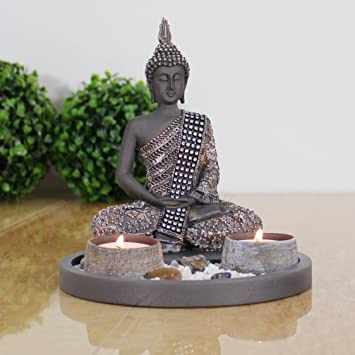 Amazon.de: Buddha Sitzend mit Teelicht Deko-Statue für Wohnzimmer ...