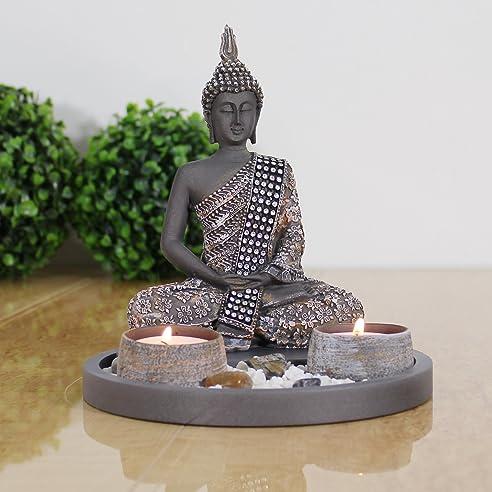 amazon.de: buddha sitzend mit teelicht deko-statue für wohnzimmer ... - Wohnzimmer Deko Figuren