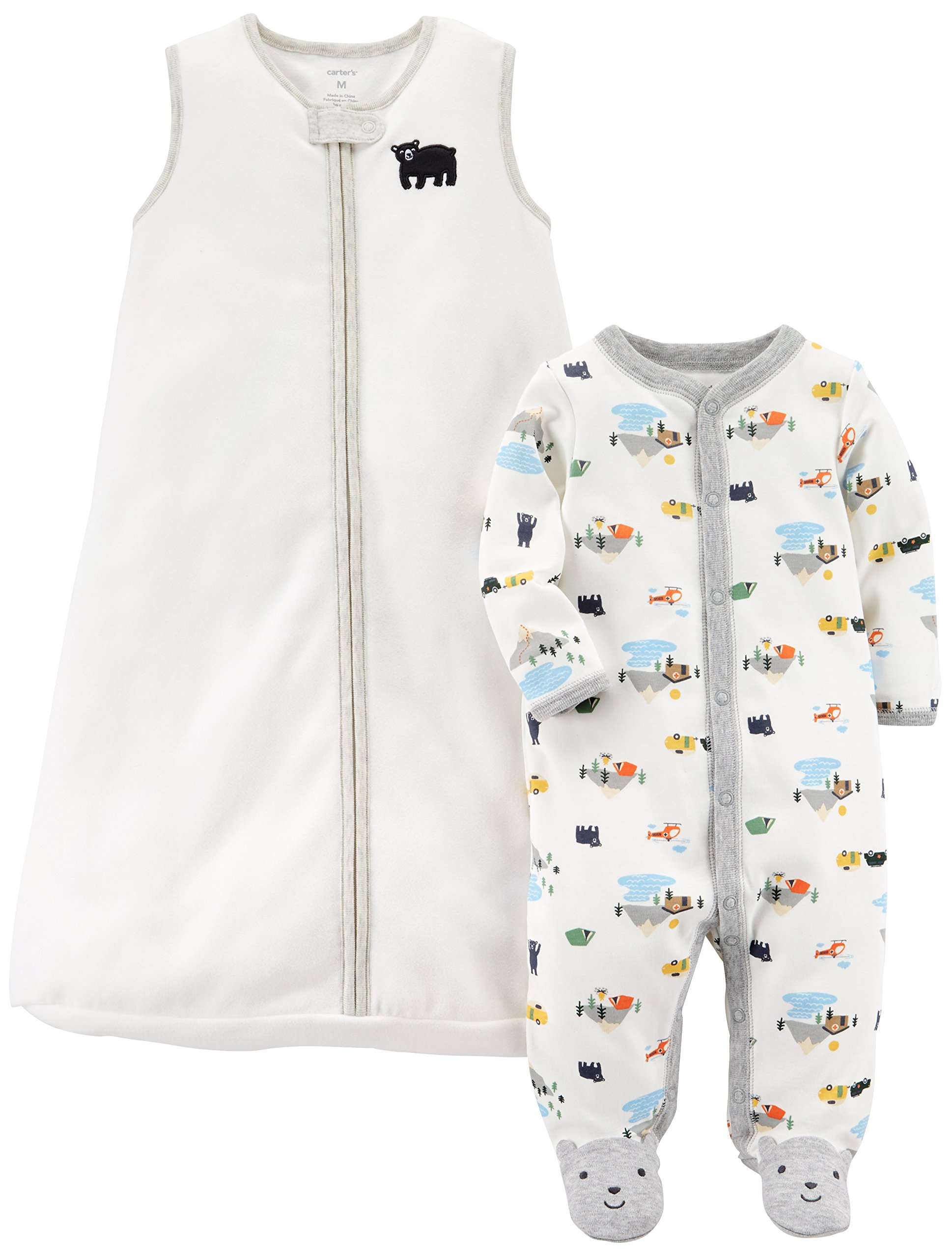 Carter's Baby Boys' 2-Pack Fleece Sleep and Play with Sleepbag, Bear/White, 9 Months