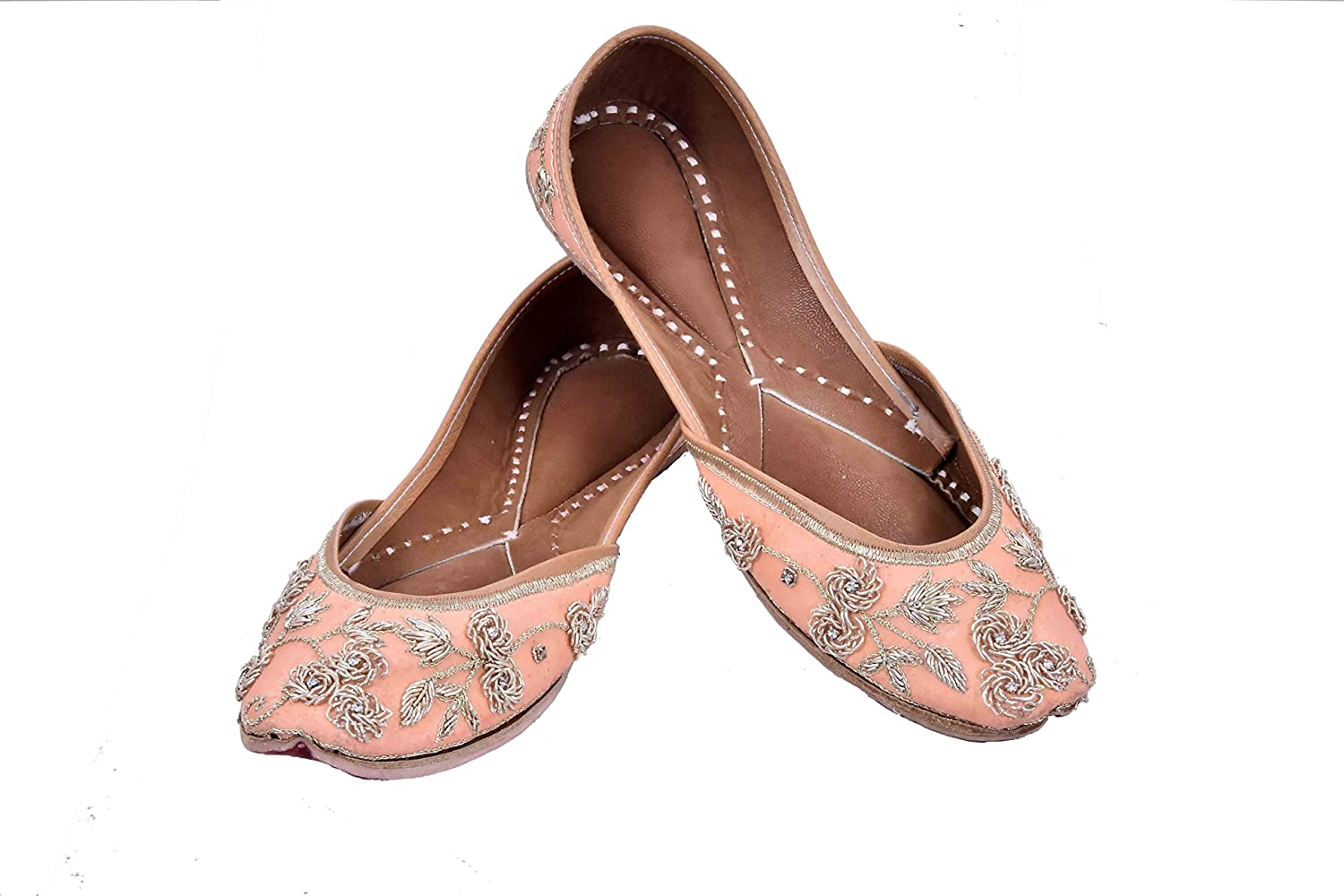 a94fa3e38b82 Amazon.com | Indian Ethnic Jutti Pump Shoes Ballet Flats Embroidered Jutti  Traditional Shoes Casual Flats for Women and Ladies (9.5) Peach | Flats