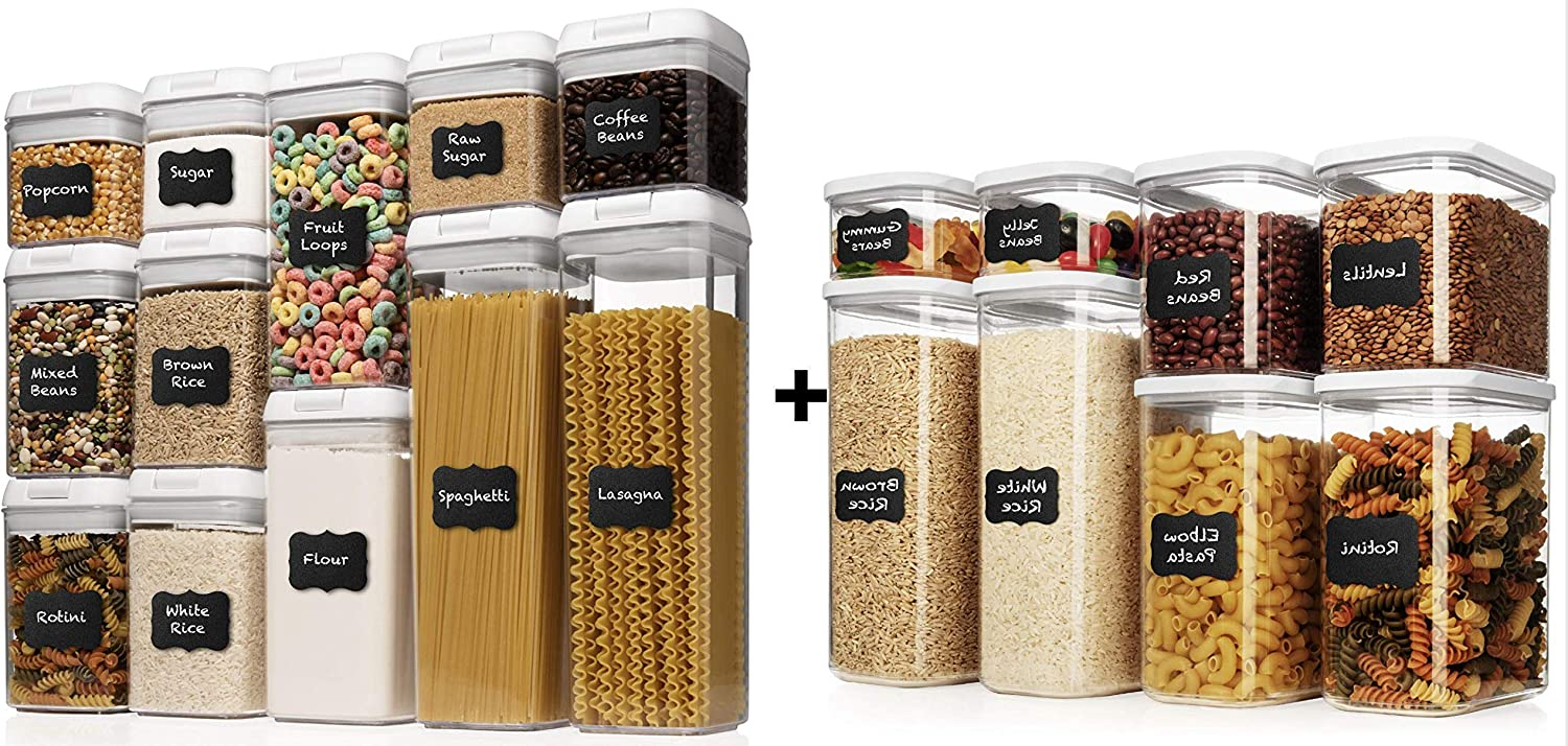 Shazo Airtight Container Set for Food Storage - 8 Piece Set + 12 PC Set + Measuring Cup + 36 Labels & Marker - Strong Heavy Duty Plastic - BPA Free - Airtight Storage Clear Plastic w/White Interchange