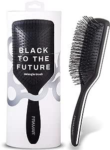 Framar Detangler Brush, Paddle Brush – Elegant Detangling Brush, No more Tangles Hair Brush – Hair Brushes for women, men and children (Black)
