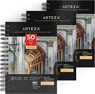 ARTEZA 5.5X8.5' Gray Toned Sketch Pad, Pack of 3, 150 Sheets (80lb/118 GSM), Spiral-Bound, 50 Sheets Each, Heavyweight Acid-Free Paper, for Graphite & Colored Pencils