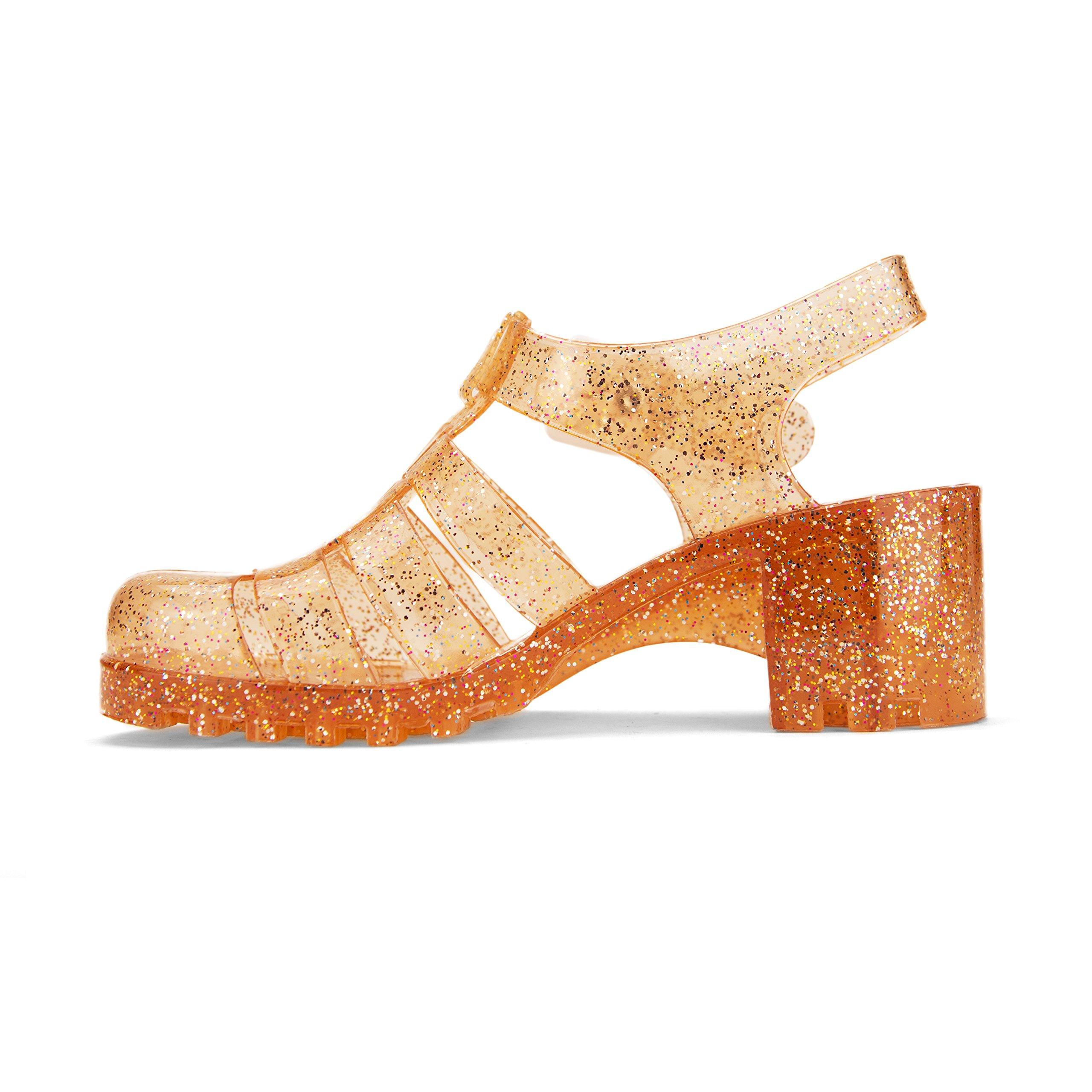 Chemistry Women's April Jelly Platform Wedge Heel Sandals Adjustable Strap Upper Low Top Shoes (5 B(M) US, Orange)