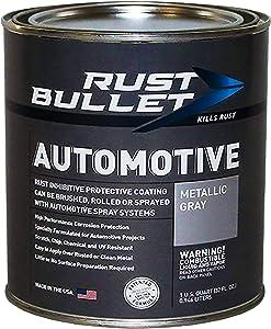 RUST BULLET Automotive - Rust Preventive Protective Coating, Rust Inhibitor Paint, UV Resistant - No Topcoat Needed (Quart, Metallic Gray)