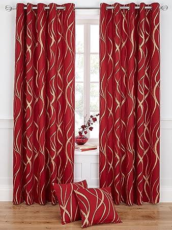 Metallic Swirl Printed Eyelet Curtains [Single curtain width - 117 ...