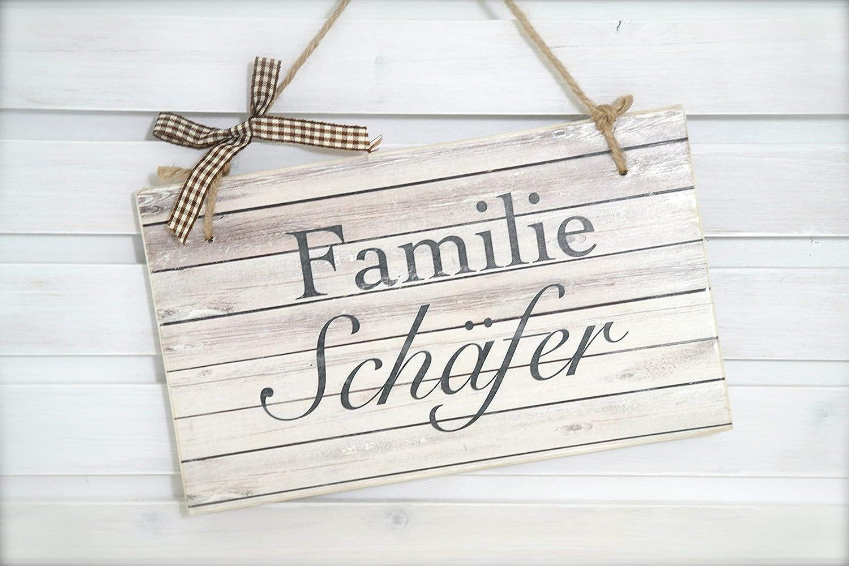 T/ür-Schild f/ür die Haust/ür mit Namen aus Holz