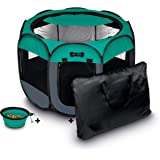 Ruff 'N Ruffus Portable Foldable Pet Playpen + FREE Carrying Case + FREE Travel Bowl | Available in 3 Sizes | Exercise Pen Ke