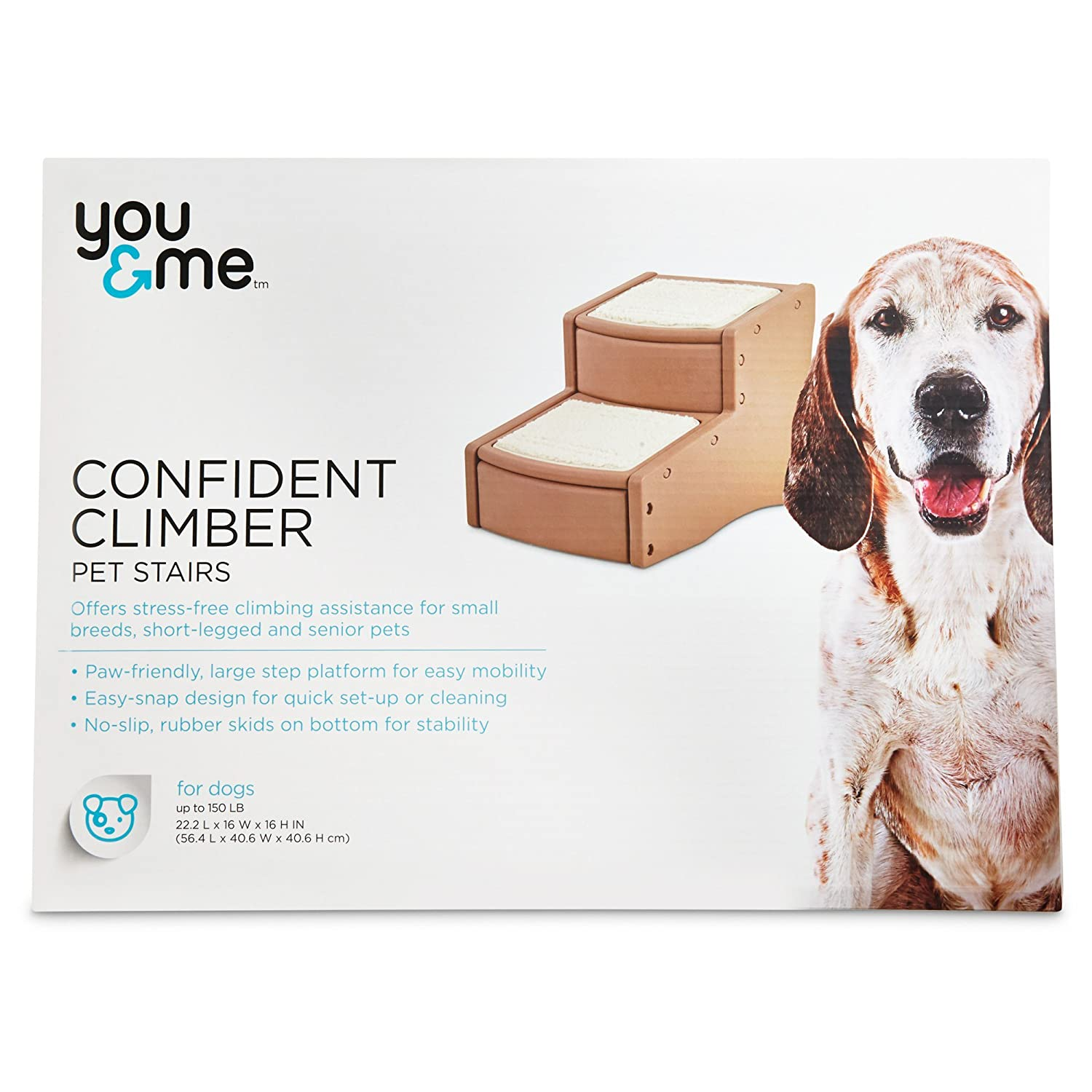 22.2 IN You & Me Confident Climber Pet Stairs, 22.2 in, Brown