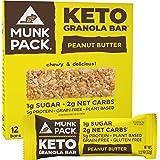 Munk Pack: Keto Granola Bar - Peanut Butter - 1g Sugar, 2g Net Carbs - 12 Pack - Gluten-Free Keto Snacks - Plant Based Paleo