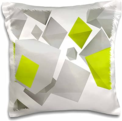 """3D Rose Gray and Lime Green Falling Geometric Shapes Design Pillow Case, 16"""" x 16"""""""