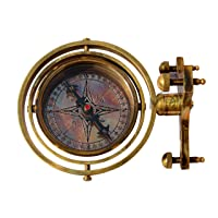 MAH-3.5'' Gimbaled Brass Nautical Stand Compass Finish Brass Compass Nautical Decor Big Brass Triangle Stand Compass with Adjustable Screw Legs. C-3258-A