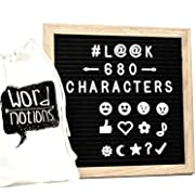 Felt Letter Board | 680 Characters, Letters & Emojis | @, $, ♥,¢, ♪, More | Drawstring Canvas Pouch | 10  x 10  Oak Wood Frame