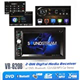 """Soundstream VR-620B Double Din in-Dash Receiver Touchscreen DVD/CD/MP3 Player 6.2"""" LCD Bluetooth USB SD 300w Amplifier 2-Din"""