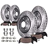 Max Brakes Front /& Rear Performance Brake Kit KT053633 Premium Slotted Drilled Rotors + Ceramic Pads Fits: 2012 12 Ram Cargo Van w//302mm Front Rotor and Standard Brakes To 3//23//2012