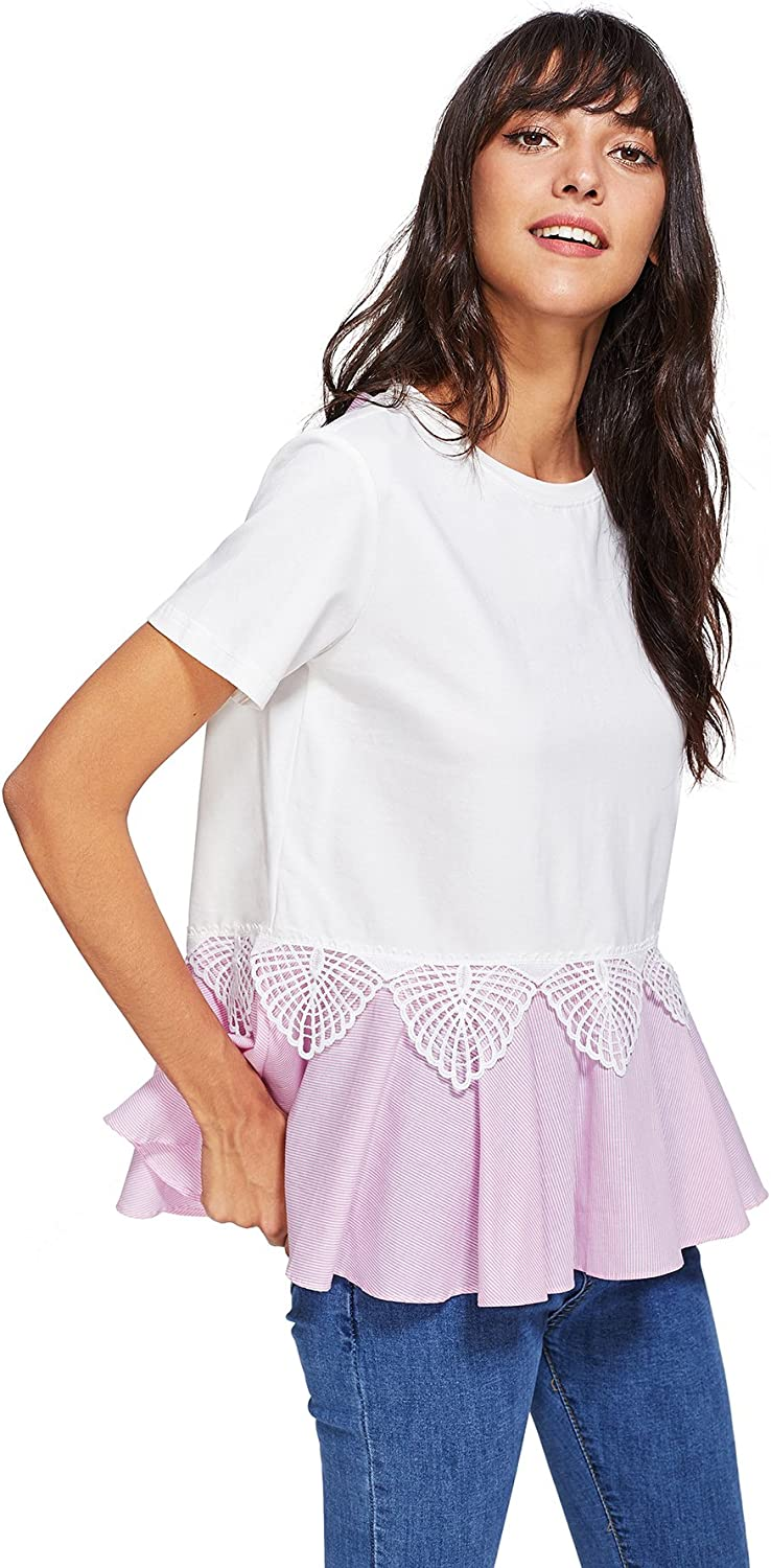 Floerns Women Short Sleeve Ruffle Peplum Babydoll Blouse Top