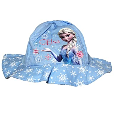 Girls Blue Disney Frozen Elsa Bucket Hat Cap Official Character Hats ... b80e6ee5c69