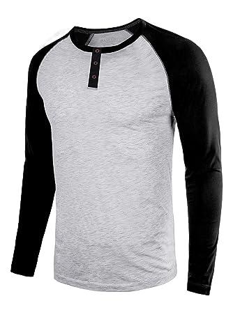 212540da Men's Casual Slim Fit Long-Sleeve/Short Sleeve T-Shirt Basic Henley Baseball