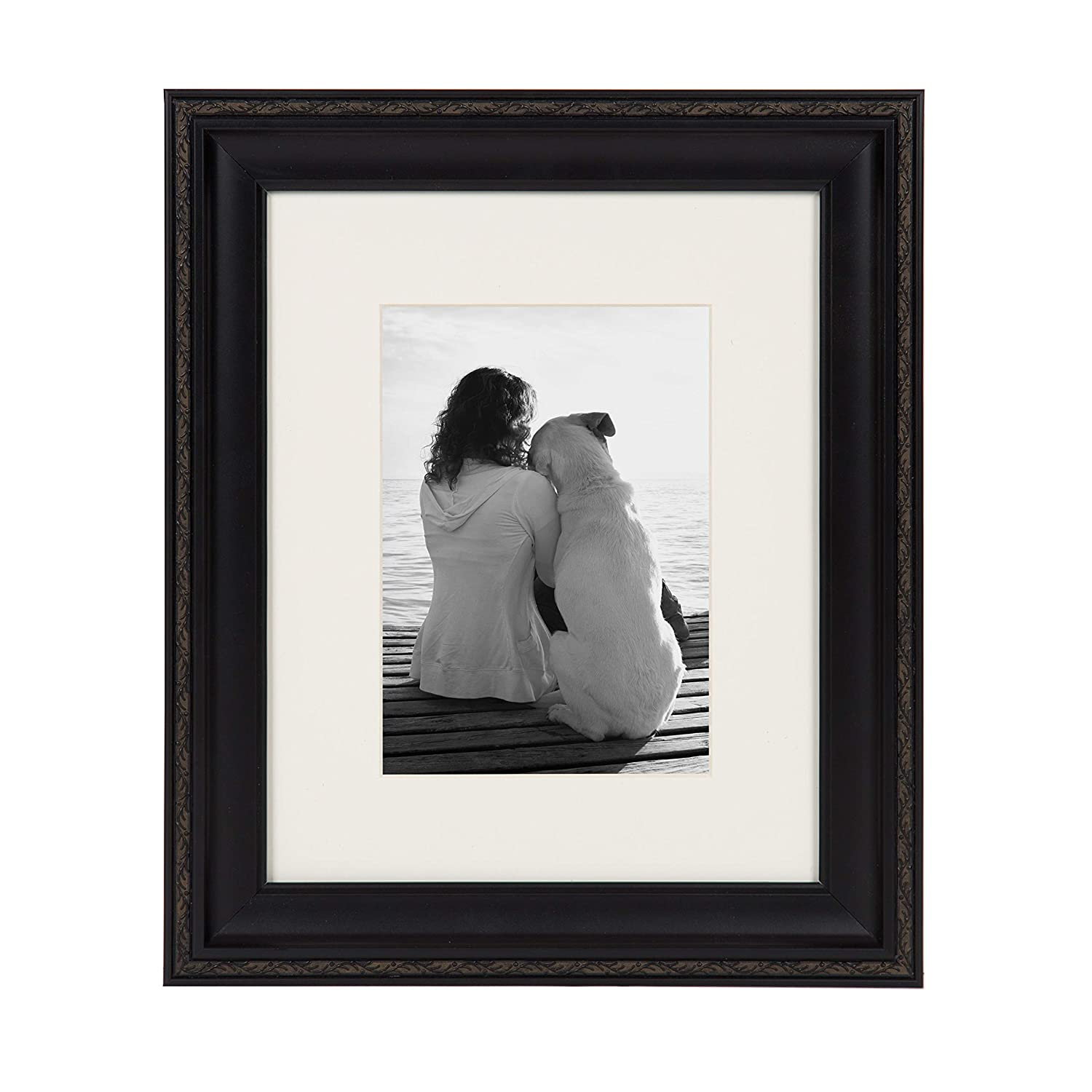 DesignOvation Martinez Wall Hanging or Table Standing Decorative Picture Frame Set, Antique Black 8×10 matted to 5×7, Pack of 4
