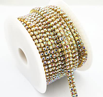 Image Unavailable. Image not available for. Color  AEAOA 3 Feet 1 Yard 2  Rows Ss16 4mm Close Rhinestone Chain ... de5ce0395e15