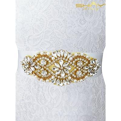 Shinybeauty Strass Applique pour mariage Strass Applique Doré Strass  Applique Sash Mariage Sash pour femme Ra014, doré, 13.8cmx5cm 49c6f0aefc0