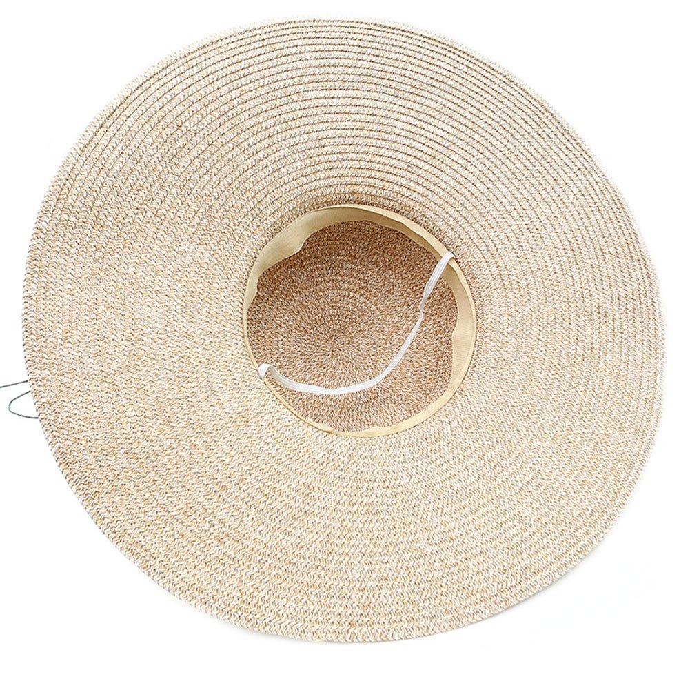 Adrinfly Women Floppy Sun Hat Foldable Big Brim Straw Hat Roll Up Cap  Beachwear 81b39e1e2b6b