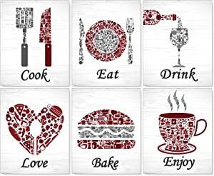 """Kitchen Wall Decorations Red White Maroon Grey Wall Art Painting Poster Prints for Home,Vintage Kitchen Dining Room Wall Art Decor Eat Drink Coffee Prints Posters Signs Sets for Home Country Farmhouse Unframed 8"""" x 10"""""""