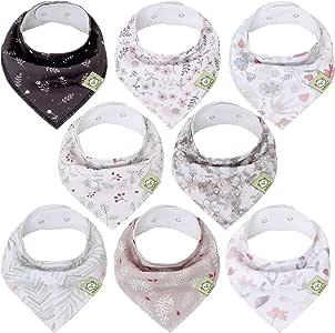 Baby Bandana Drool Bibs for Girls - Super Absorbent Organic Cotton Bandana Bibs - Baby Drool Bib - Teething Bibs - Handkerchief Bibs for Infant, Toddler - 8-Pack Bib Set - Bib Girl (Bloom)