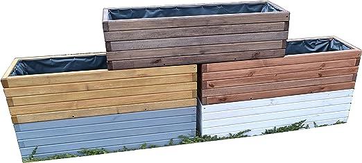 D3 Jardinera de acero madera Macetero Jardín Terraza montado, nogal: Amazon.es: Jardín