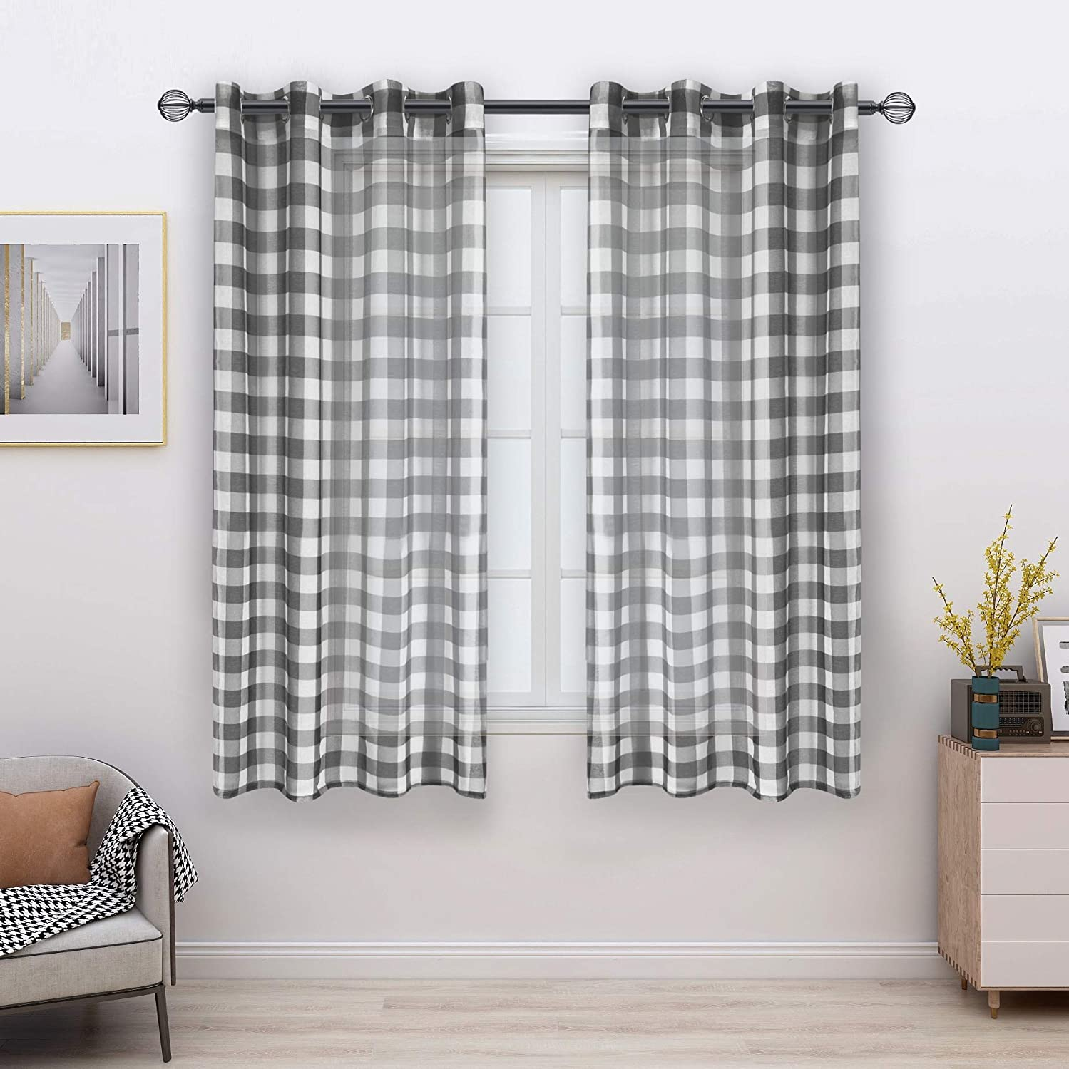 FLOWEROOM Buffalo Plaid Sheer Curtains for Living Room/Bedroom, Grey-White, 52 x 63 Inch Long – Light Filtering and Privacy Checkered Curtain, Grommet Semi Sheer Voile, Set of 2 Panels