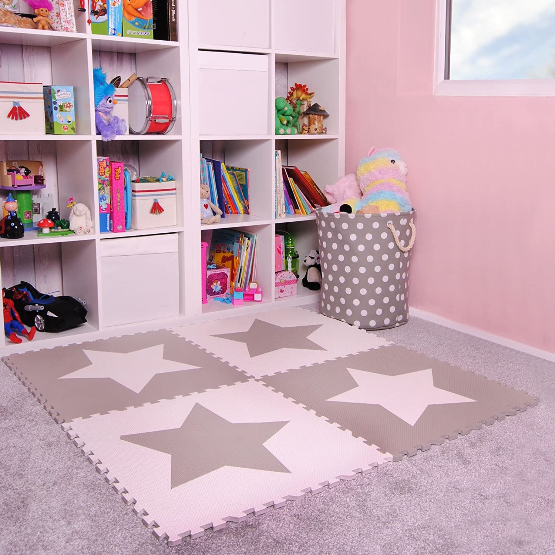 Amazon.com: 4 grandes cubos de espuma gris bebé alfombra de ...