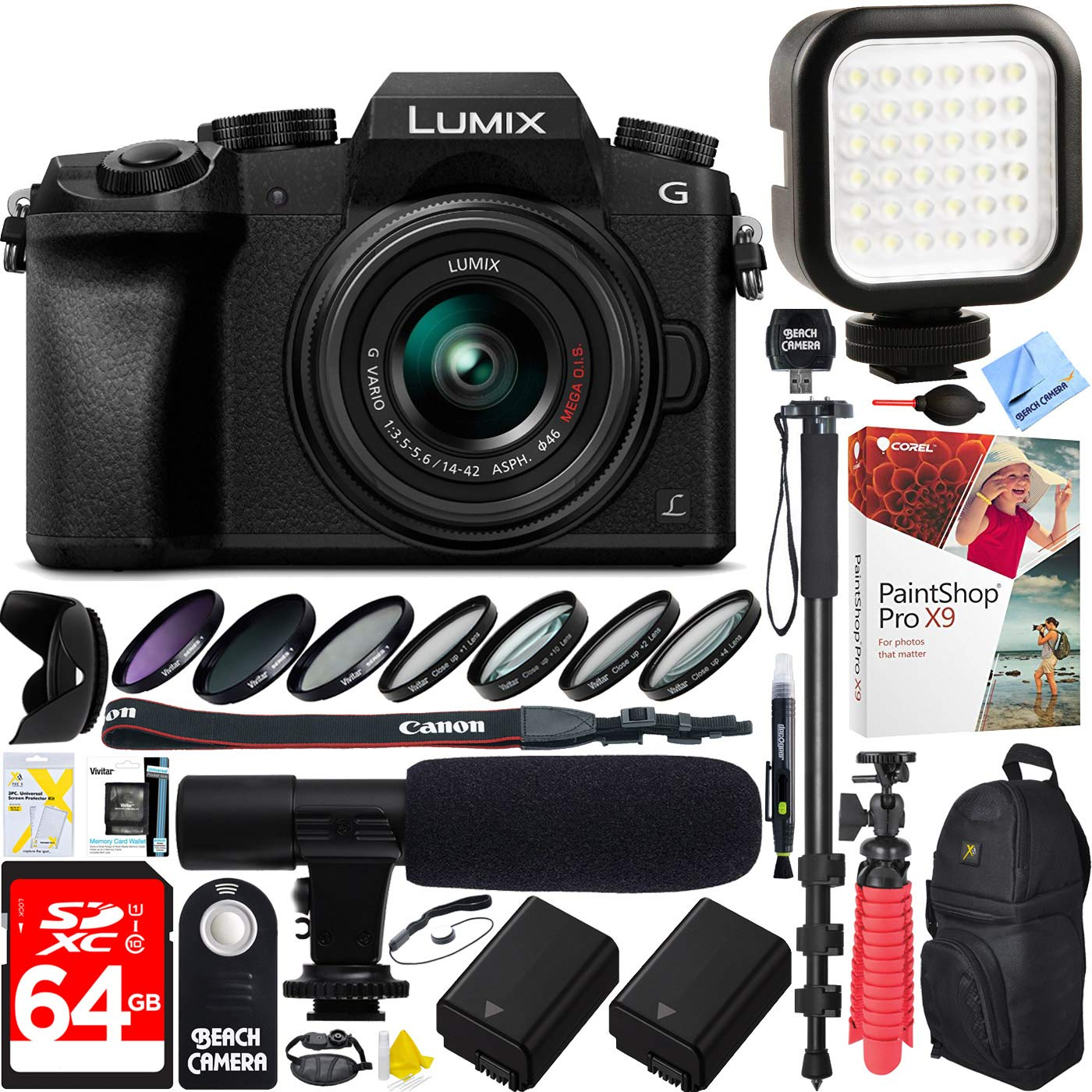 Panasonic LUMIX G7 Interchangeable Lens 4K Ultra HD Black DSLM Camera with 14-42mm Lens Bundle with 64GB Memory Card, Microphone, LED Light and Accessories (17 Items) by Panasonic