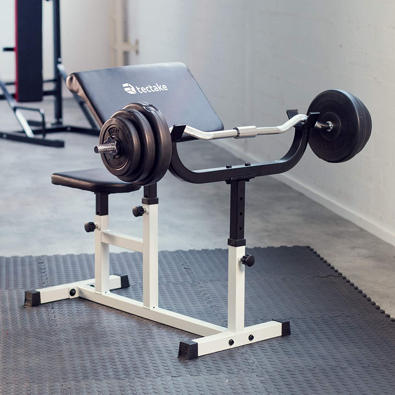 TecTake 402267 Banco de Bíceps Curl   Apoyabrazos & Asiento Regulable   Fitness Ejercicio Musculación