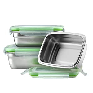 Klee Utensils Stainless Steel Food Containers - Set of 3 - Perfect Lunch/Food Storage Box High Durability, Reusable, Eco-Friendly, BPA-Free, Great for Outdoor/On the Go Healthy Snack/Side Meals