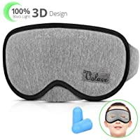 Schlafmaske Damen und Herren, VOLUEX Premium 3D-Augenmaske, weiche atmungsaktive Memory-Schaum mit Baumwolle, Nasenkontur Design, 100% blockiert Licht, verstellbares Stirnband, Inklusive Ohrstöpseln