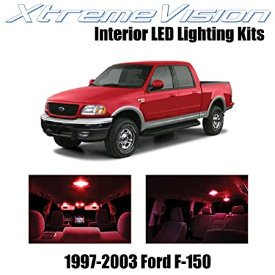 XtremeVision Interior LED for Ford F-150 1997-2003 (10 Pieces) Red Interior LED Kit + Installation Tool: Automotive