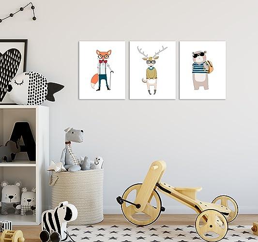amazon com hipster animal art prints hipster decor set of 3 handmade