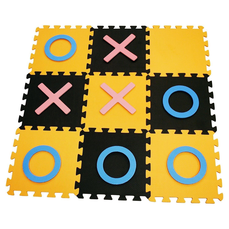 Interlocking Eva Foam Floor Mat, Giant Noughts and Crosses Indoor & Outdoor Garden Game, Children Play Area Flooring Set WAF