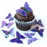 Assorted Purple Wafer Paper Butterflies 1.75 Inch for Decorating Desserts Pack of 24