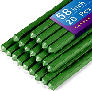 LAVEVE Anti-Rust Garden Stakes 58 Inches Sturdy Steel Plant Support Stakes, Plastic Coated Plant Sticks, for Securing Trees, Natural Climbing Plants, Tomato Stakes, Cucumber, Beans, Pack of 20
