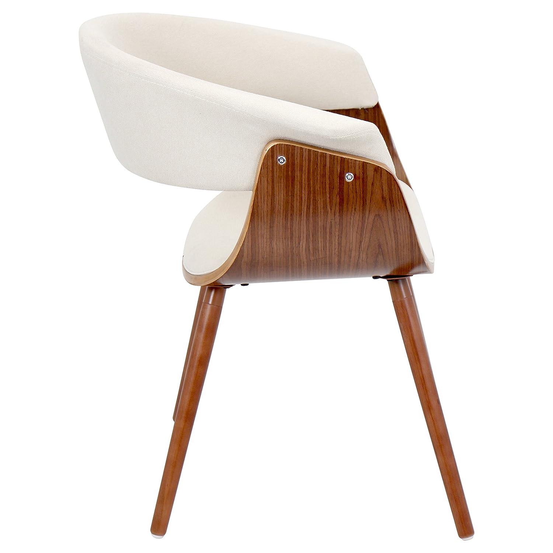 Amazon LumiSource Walnut Cream Vintage Mod Accent Chair CHR
