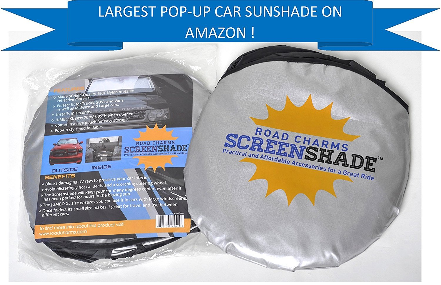 Best rated in automotive window sunshades helpful customer reviews windshield sun shade jumbo xl 70 x 35 inches car window shade easy to use folding shade nylon uv protector keeps car cool pop up style great fit fandeluxe Gallery
