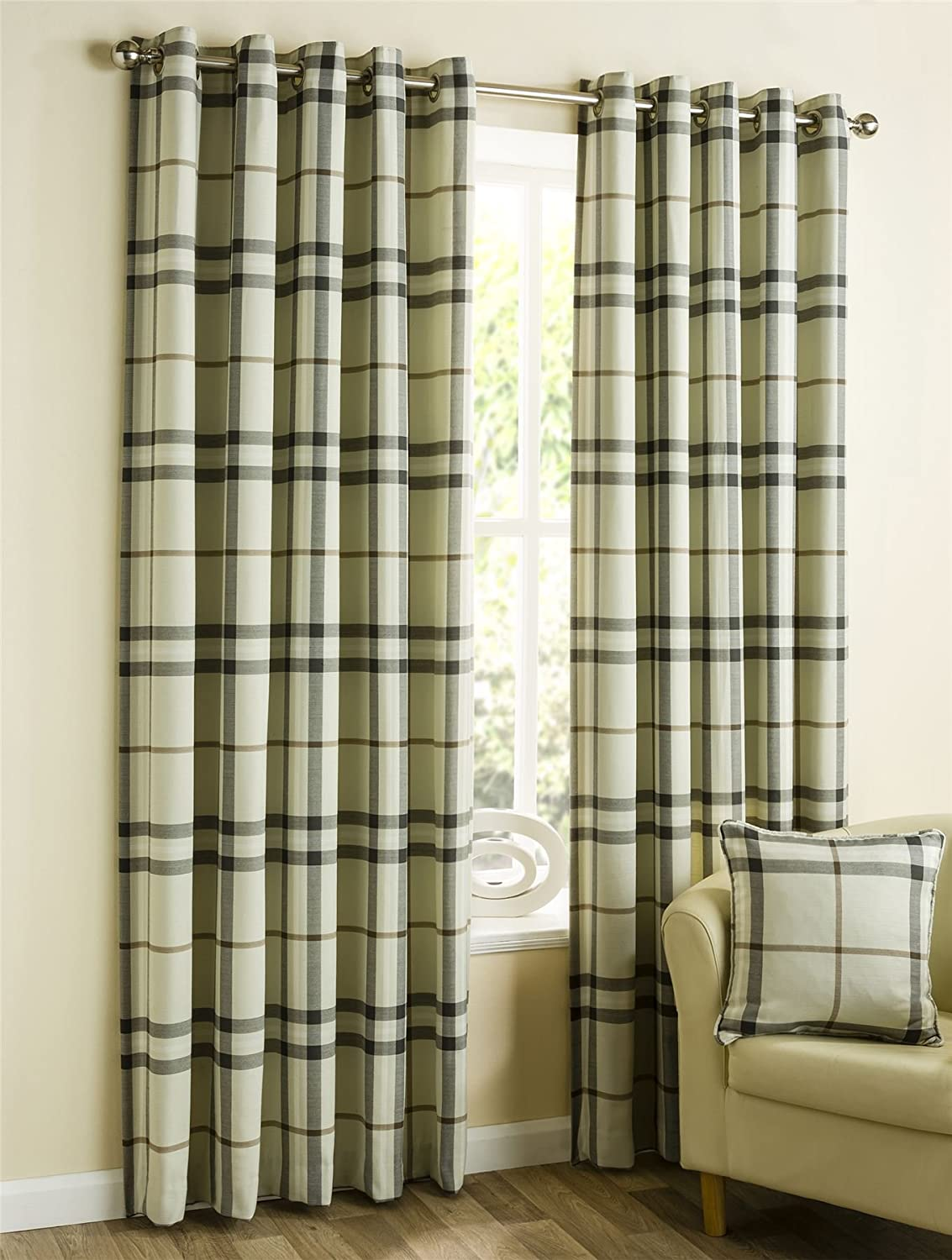Homescapes Natural Beige Tartan Check Eyelet Ring Top Lined Curtain Pair - 117cm (46