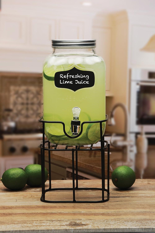 Yorkshire Mason Jar Bebidas Dispensador de bebida de cristal con soporte de metal negro de pizarra Circleware, 1 L, transparente: Amazon.es: Hogar