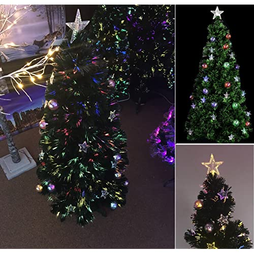 5ft luxury pre lit green fibre optic christmas xmas tree prelit stars and baubles decorations xmas
